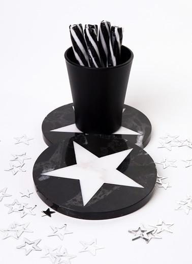 3Wdesign Yıldız Mermer Bardak Altlığı Siyah